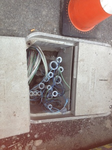 Wires being pulled through conduit