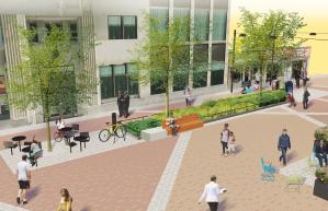 Designer rendering of a planter area.